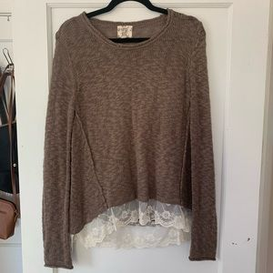 Brown Sweater with White Lace